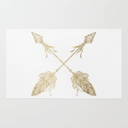 Tribal Arrows Gold on White Rug