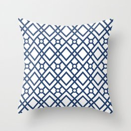 Modern Geometric Diamonds and Circles Pattern Navy Blue and White Throw Pillow
