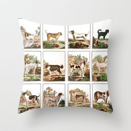 Dogs In Vintage Style Throw Pillow