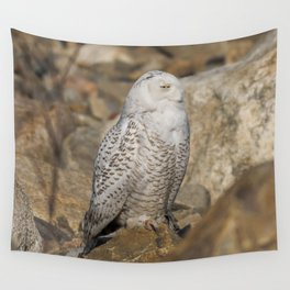 Snowy Owl on the Rocks Wall Tapestry