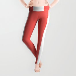Large Bean Red and White Vertical Cabana Tent Stripes Leggings