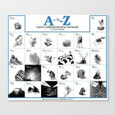 A-Z Animals (blue) Canvas Print