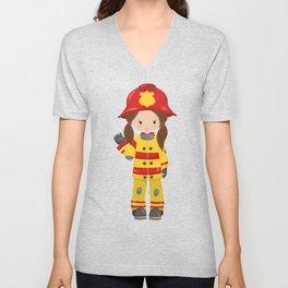 Girl Fireman, Female Firefighter, Brown Hair Unisex V-Neck