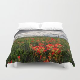 Brighten the Day - Indian Paintbrush Wildflowers in Eastern Oklahoma Duvet Cover