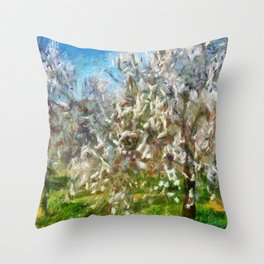 Almond Orchard Blossom Throw Pillow