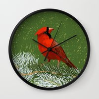 cardinal Wall Clocks featuring Cardinal by Janko Illustration