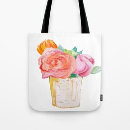 Peach Rose And Pink Tulip In Vase Watercolor Tote Bag