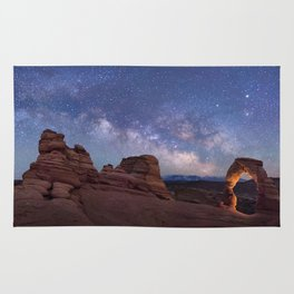 Delicate Arch Under the Starry Sky in Arches National Park Panorama Rug