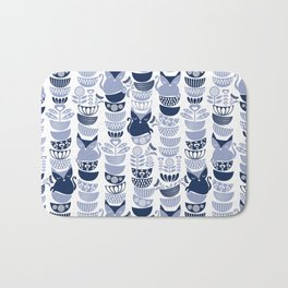 Swedish folk cats III // white background pale and navy blue kitties & bowls Bath Mat