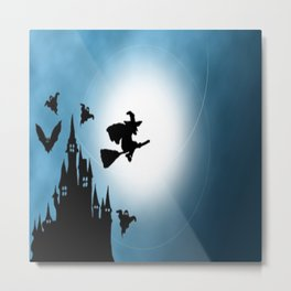 Blue Halloween Witch Silhouette Metal Print