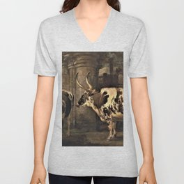 James Ward - ortraits of two extraordinary oxen, the property of the Earl of Powis Unisex V-Neck