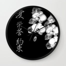 Japanese Orchids in Black Wall Clock