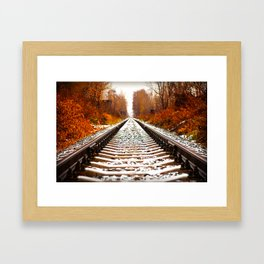 Autumn Forest Train Tracks Framed Art Print
