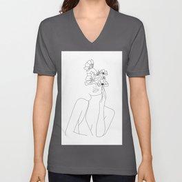 Minimal Line Art Woman with Flowers Unisex V-Ausschnitt