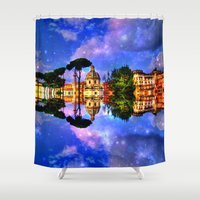 rome Shower Curtains featuring  space Rome by haroulita