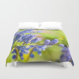 Blue Muscari Mill flowers close-up in the spring Duvet Cover