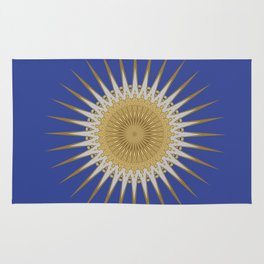 Bright Blue Gold Star Mandala Rug
