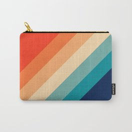 Classic Colorful Retro 70s Vintage Style Stripes - Farida Carry-All Pouch