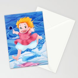 Ponyo Runs on Water with the Big Fishes Stationery Cards