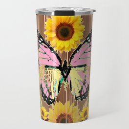 BLACK ABSTRACT PINK BUTTERFLY SUNFLOWER FLORAL Travel Mug