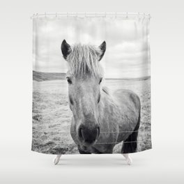 Horse Print | Black and White Rustic Horse Art Shower Curtain
