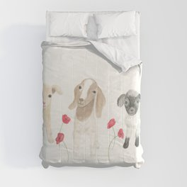 Baby Goats and Red Poppies Comforters