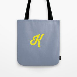 Letter K grey and yellow Tote Bag