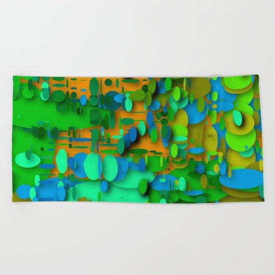round green garden Beach Towel