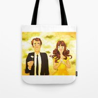 pushing daisies Tote Bags featuring Pushing Daisies by AngHuiQing