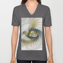 Noble And Golden, Abstract Modern Fractal Art Unisex V-Neck