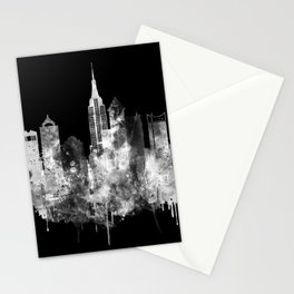 New York City Inverted Watercolor Skyline Stationery Cards