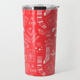 Doodle Christmas pattern red Travel Mug