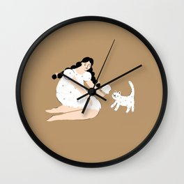 Ice Cream Girl and Kitty Wall Clock