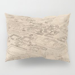 Vintage Pictorial Map of Oxford England (1850) Pillow Sham