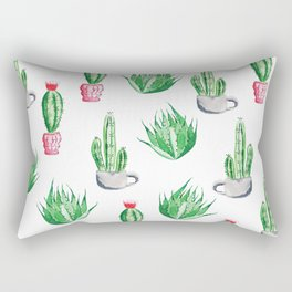 Pot plants with Cacti Pattern // Modern watercolor plants design Rectangular Pillow
