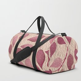 Berry Pink Leaves On Brushed Gold Duffle Bag