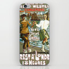France to England, Brest to London vintage travel ad iPhone Skin