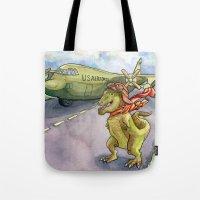 pilot Tote Bags featuring Tyranosaurus Pilot by Theresa Lammon