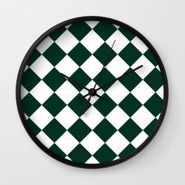 Large Diamonds - White and Deep Green Wall Clock