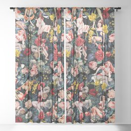 Floral and Pin-Up Girls IV Sheer Curtain