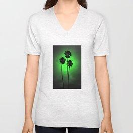 Palm Trees Green Glow Unisex V-Neck