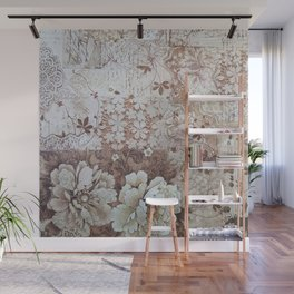 Rustic vintage ivory brown lace floral typography Wall Mural
