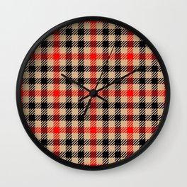 Cream, Red & Black Gingham Pattern Wall Clock