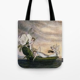 """Fairies Floating Downstream"" by Amelia Jane Murray Tote Bag"