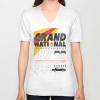 the national V-neck T-shirts featuring Grand National by CynthiaLeduc