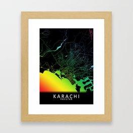 Karachi, Pakistan, City, Map, Rainbow, Map, Art, Print Framed Art Print