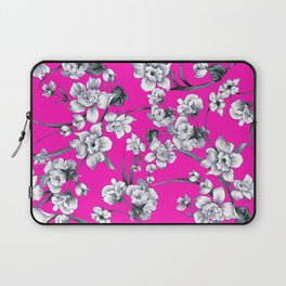 Modern neon pink black white abstract floral Laptop Sleeve