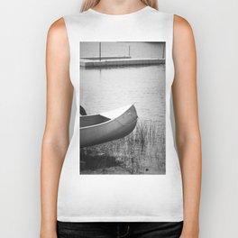 The Boat is Here Dark Black and White Biker Tank