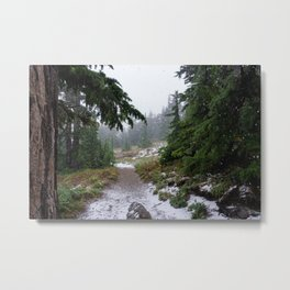 The First Mountain Snowfall Metal Print