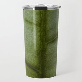 Close Up Of Single Green Fig Leaf Minimalist Modern Photo Travel Mug